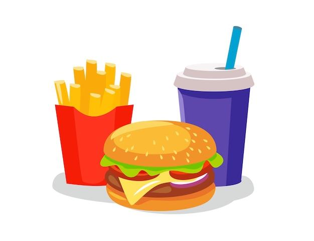 Hambúrguer de queijo fast food com batatas fritas grelhadas de carne e copo de bebida