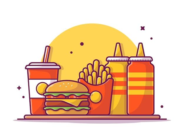 Hambúrguer de queijo saboroso menu combinado com batatas fritas, refrigerante, ketchup e mostarda ilustração branco isolado