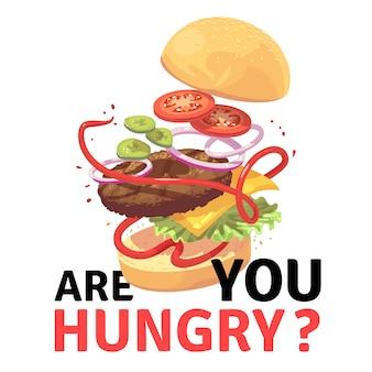 Hamburguer delicioso atraente ilustração de desenhos animados de hambúrguer voador