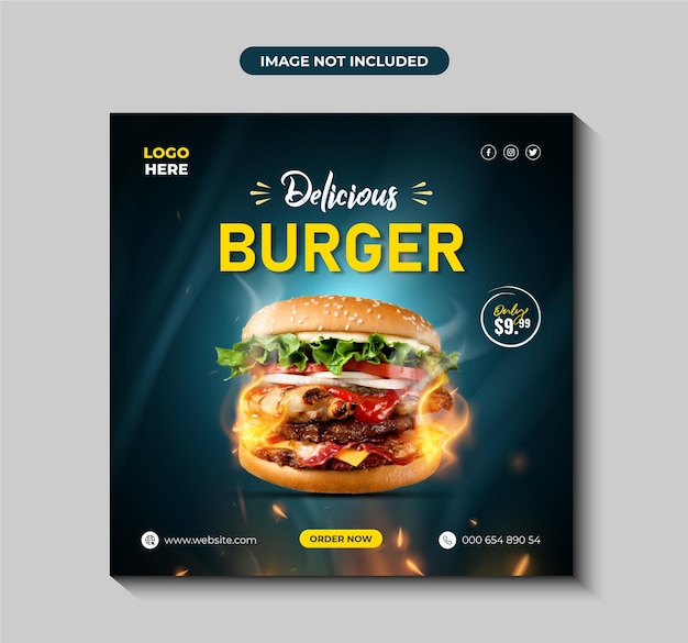 Hambúrguer delicioso e menu de comida post em mídia social ou modelo de banner premium vector