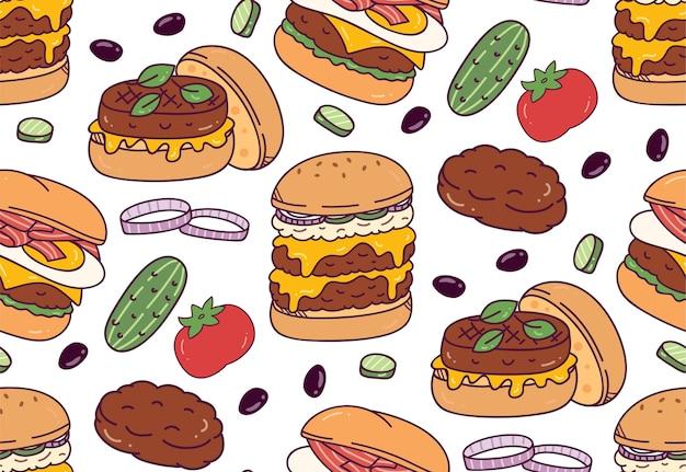 Hambúrguer doodle padrão sem emenda