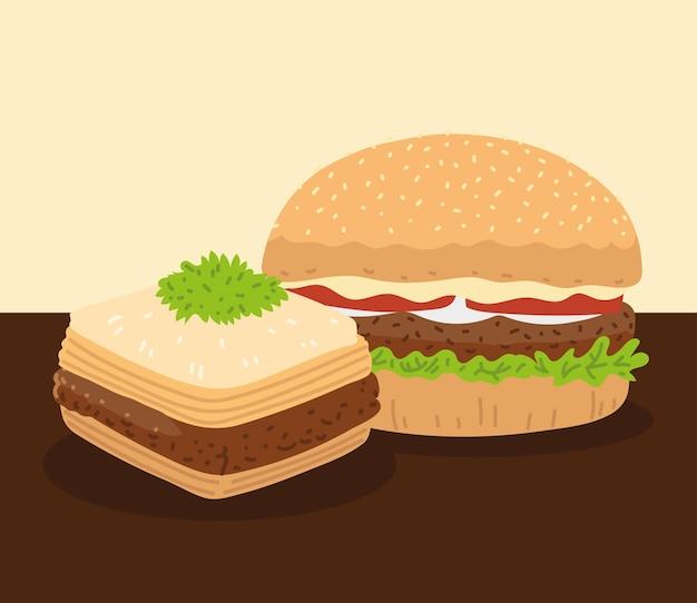 Hambúrguer e baklava, comida árabe