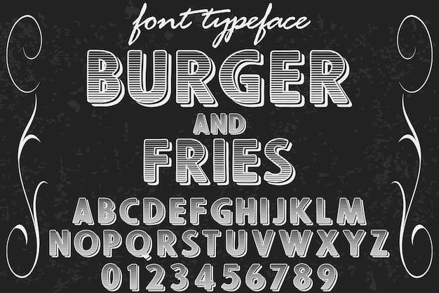 Hambúrguer e batatas fritas design de rótulo de letra