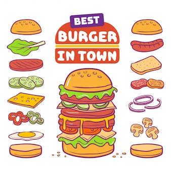 Hambúrguer e ilustração vetorial de ingrediente