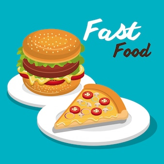 Hambúrguer e pizza isolado ícone do design
