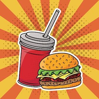 Hambúrguer e refrigerante fast food estilo pop art