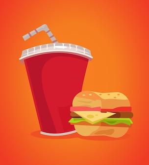 Hambúrguer e refrigerante fast food. ilustração em vetor plana dos desenhos animados
