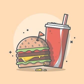 Hambúrguer e refrigerante icon ilustração. conceito de fast-food isolado
