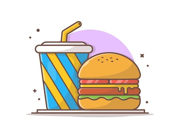 Hambúrguer e refrigerante na ilustração vetorial de prato