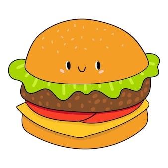 Hambúrguer em estilo cartoon hambúrguer de desenho animado com objetos isolados de olhos no fundo branco