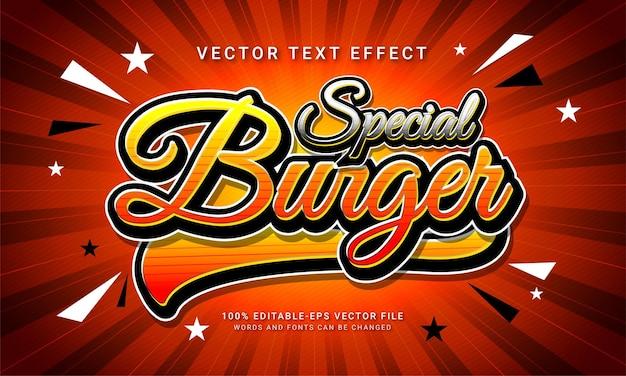Hambúrguer especial com efeito de texto editável e menu de comida de restaurante com tema