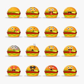 Hambúrguer fofo com conjunto de emoticons