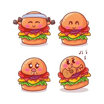 Hambúrguer fofo e kawaii isolado no branco
