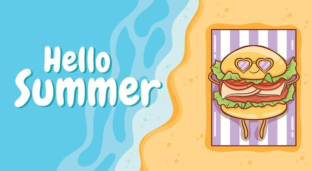 Hambúrguer fofo tomando banho de sol na praia com uma faixa de saudação de verão