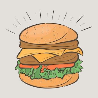 Hambúrguer gostoso alto com duas costeletas e queijo