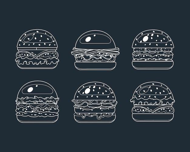 Hambúrguer, ícones de fast food no estilo lyne. ilustração em vetor comida.