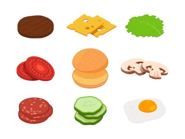 Hambúrguer isométrico. hambúrguer de construtor com ingredientes diferentes