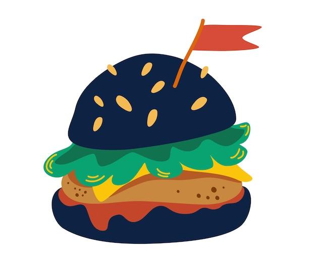 Hambúrguer no pão preto. hambúrguer preto com costeleta, queijo, tomate, alface e uma bandeira. hambúrguer.