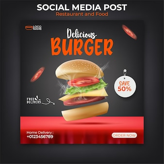 Hambúrguer ou modelo de banner de comida para promoção nas redes sociais