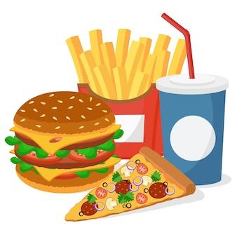 Hambúrguer, pizza, batata frita e uma bebida no branco.