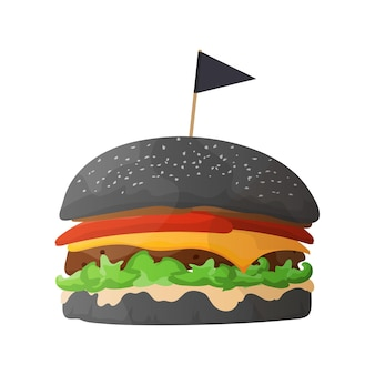 Hambúrguer preto. hambúrguer com pão preto, costeleta, queijo, tomate e alface. isolado. vetor.