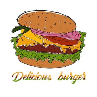 Hamburguer suculento com salada e carne. ilustração vetorial