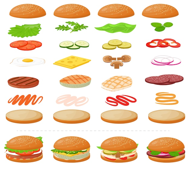 Hambúrguer vector fast-food hambúrguer ou cheeseburger construtor com ingredientes
