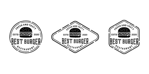 Hambúrguer vintage retrô distintivo logotipo carimbo ou selo modelo de coleção conjunto de adesivos