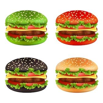 Hambúrgueres coloridos, pão de cheeseburger preto de fast-food de diferentes cores e ingredientes refeição vetor de alimentos deliciosos de batatas fritas de tomate carne