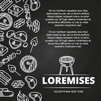 Hambúrgueres de churrasco e design de cartaz de lousa de equipamento