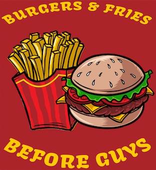 Hambúrgueres e batatas fritas
