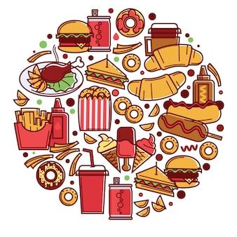 Hambúrgueres e cheeseburgers, salgadinhos e doces com bebidas