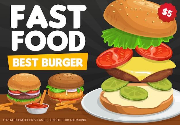 Hambúrgueres, hambúrguer de fast food e cheeseburger