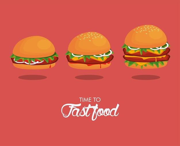 Hambúrgueres tamanhos deliciosos ícones de fast food ilustração
