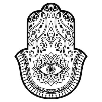 Hamsa mão desenhada símbolo com flor.