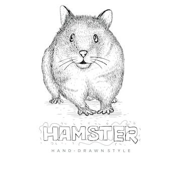Hamster bonito com estilo mão desenhada, ilustrações de animais realistas