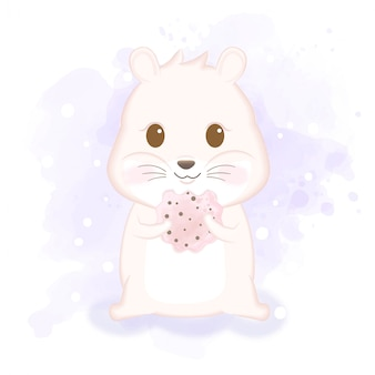 Hamster bonito gosta de comer biscoito mão desenhada animal ilustração