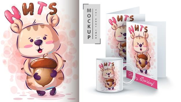 Hamster com cartaz de nozes e merchandising