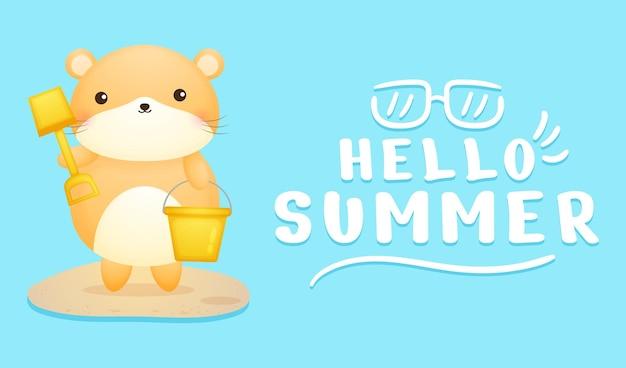 Hamster fofo com faixa de saudação de verão