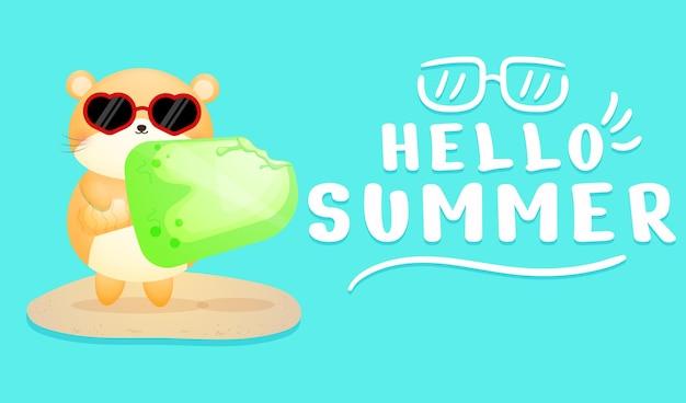 Hamster fofo segurando sorvete com uma faixa de saudação de verão