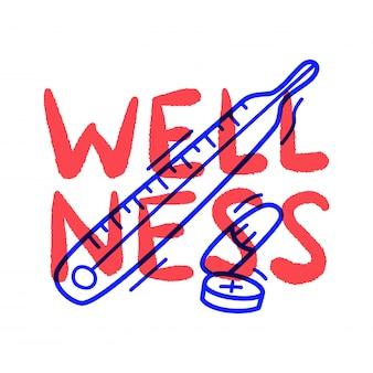 Hand draw doodle termômetro médico de bem-estar