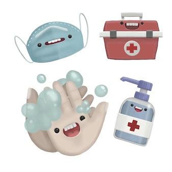 Hand draw illustration desinfecção de vírus de cuidados de saúde de mãos
