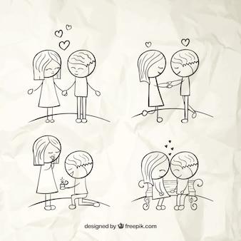 Hand drawn amor casais