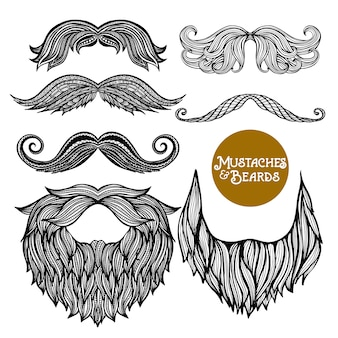 Hand drawn decorative beard e bigode conjunto