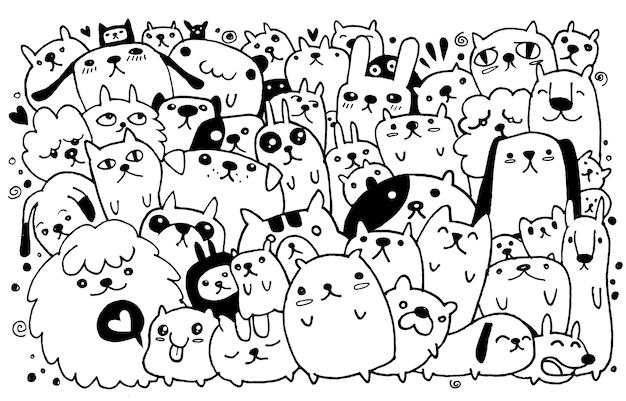 Hand drawn doodle conjunto de cães engraçados