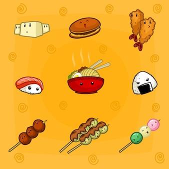 Hand drawn doodle conjunto de coleta de desenhos animados de comida japonesa bonito