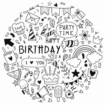 Hand drawn doodle feliz aniversário festa de ornamentos