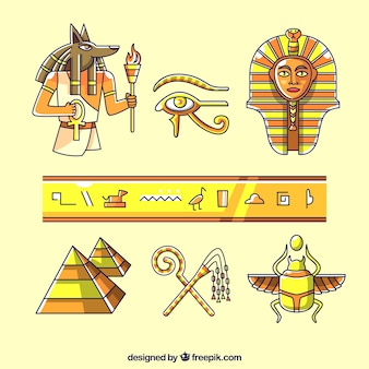 Hand drawn egypt symbols and deuses