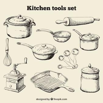 Hand drawn ferramentas da cozinha jogo