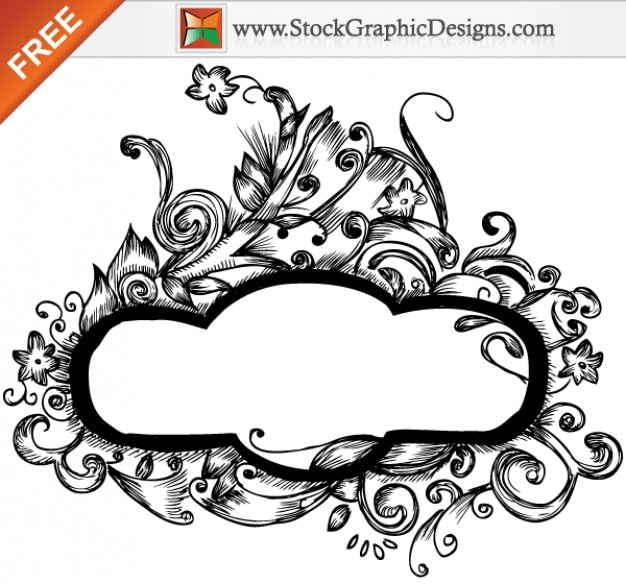 Hand drawn frames floral designs vector grátis
